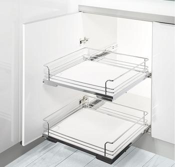 Kesseböhmer - Utdrag till underskåp med hel botten, för placering bakom dörr - finns till skåp 450, 500 och 600 mm