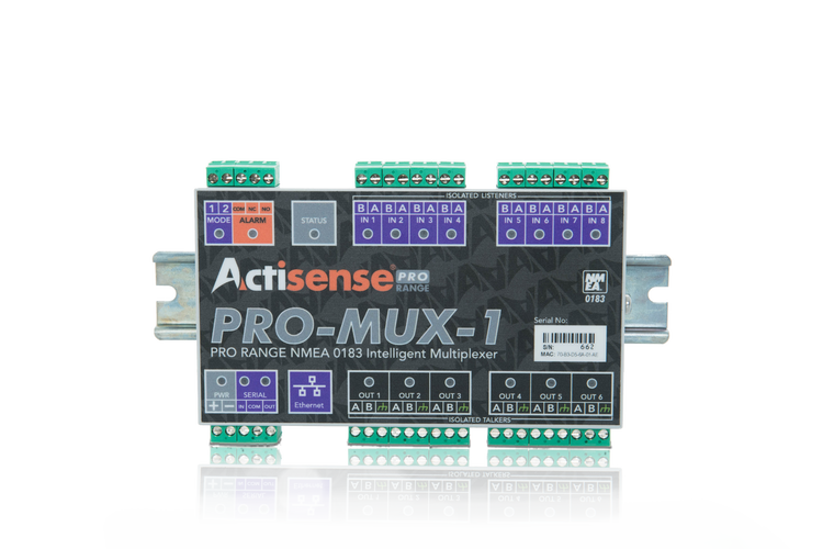 Actisense PRO-MUX-1-BAS-S - Professionell NMEA Multiplexer 8 OPTO inputs, 6 ISO-Drive outputs, Serial, Ethernet port, advanced data filtering and routing