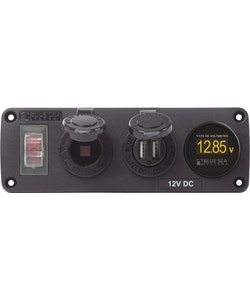 Blue Sea Systems 4366 - Blue Sea Systems Panel Acc H2O USB, Sckt & Vmeter