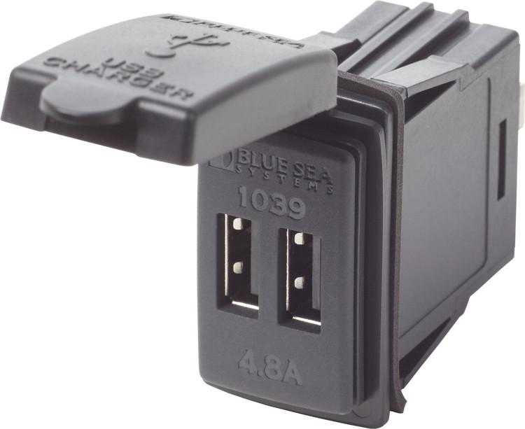 Blue Sea Systems 1039 - USB uttag x 2 (svart) 4,8A, Carling