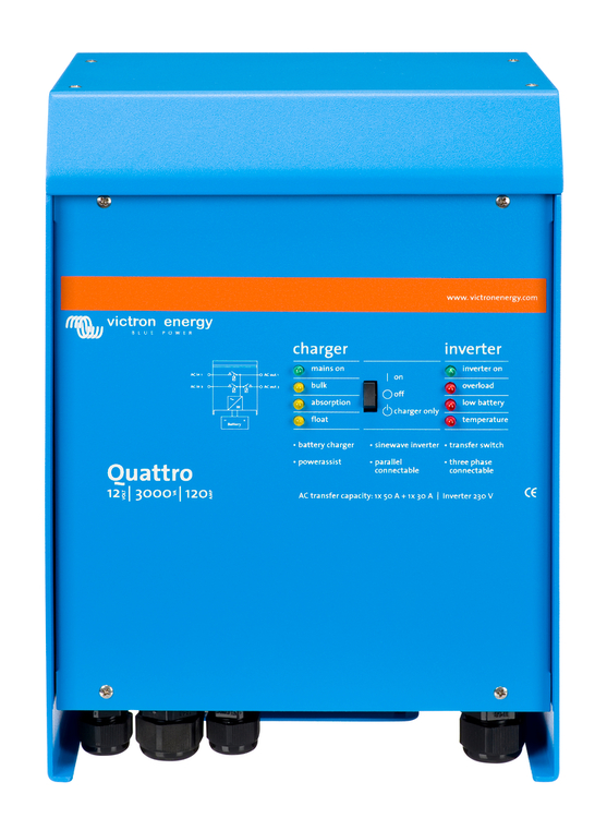 Victron Energy QUA123020010 - Quattro 12/3000/120-50/50, 230V, VE.Bus