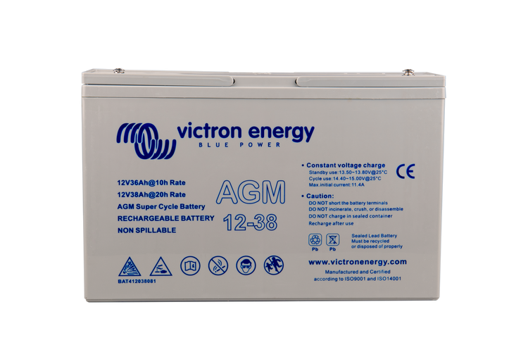 Victron Energy BAT412038081 - AGM Super Cycle-batteri 12V/38Ah, CCA (SAE) 280, M5-gänga