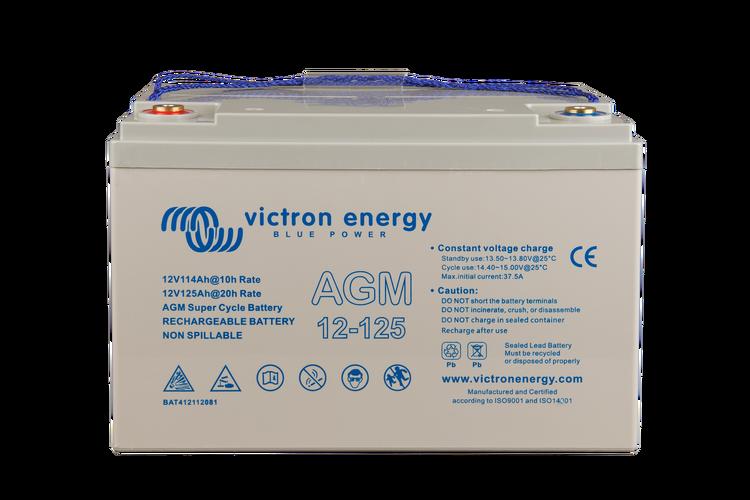 Victron Energy BAT412112081 - AGM Super Cycle-batteri 12V/125Ah  CCA (SAE) 550, M8-gänga