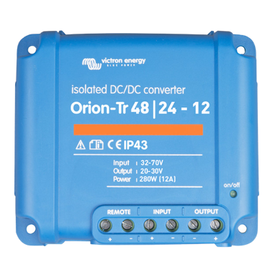 Victron Energy ORI482428110 - Orion-Tr 48/24-12A (280W), isolerad DC-DC-omvandlare, justerbar utspänning 20-30V