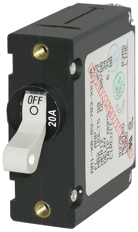 Blue Sea Systems 7214B - Automatsäkring DC/AC 20A 1-p, vit