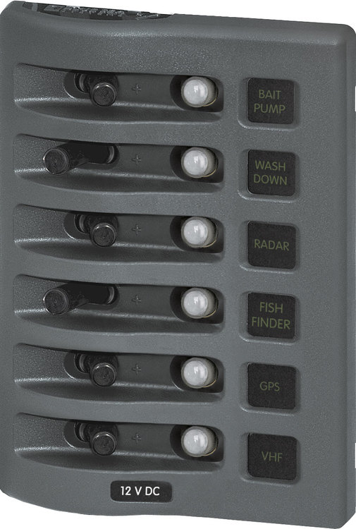 Blue Sea Systems 4376 - Autosäkringspanel WD 6-pol grå