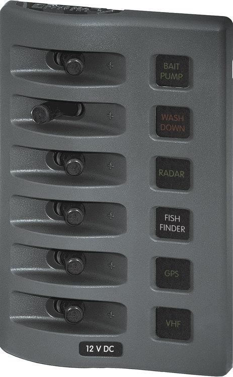 Blue Sea Systems 4306 - Säkringspanel WD 6-pol grå