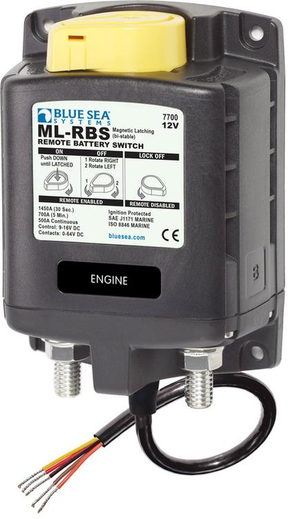Blue Sea Systems 7700B - ML-RBS, Fjärrstyrd huvudströmbrytare 500A 12V Manuell ON-OFF (exkl 2145 switch)