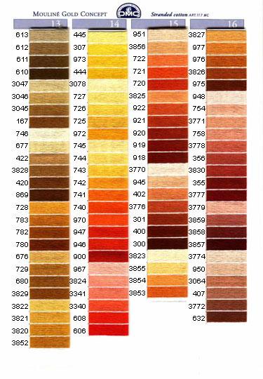 DMC mouliné färg 605 - 738