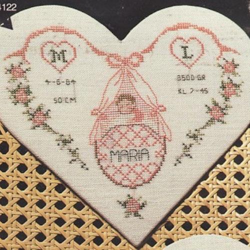 Doptavla - Rosa hjärta