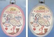 Doptavla - stork rosa/blå