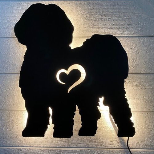 Wall light Lhasa apso with heart