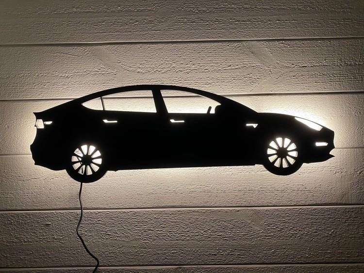 Vägglampa Bil TESLA modell 3