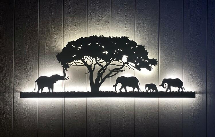 Vägglampa Elefant familj