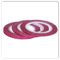 Striping tape glittrig rosa