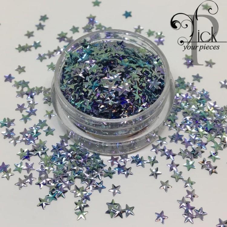 3D Stars Metallic Blue