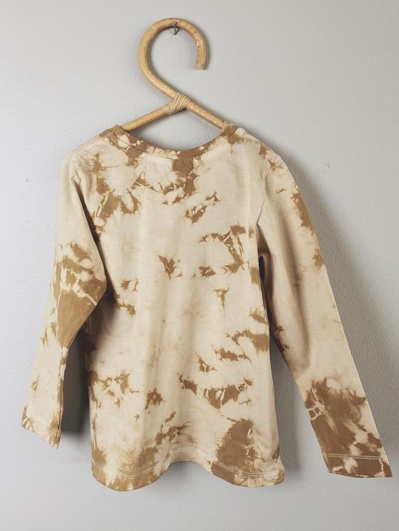 L/s Tee - size 98/104 - Coffee tie dye