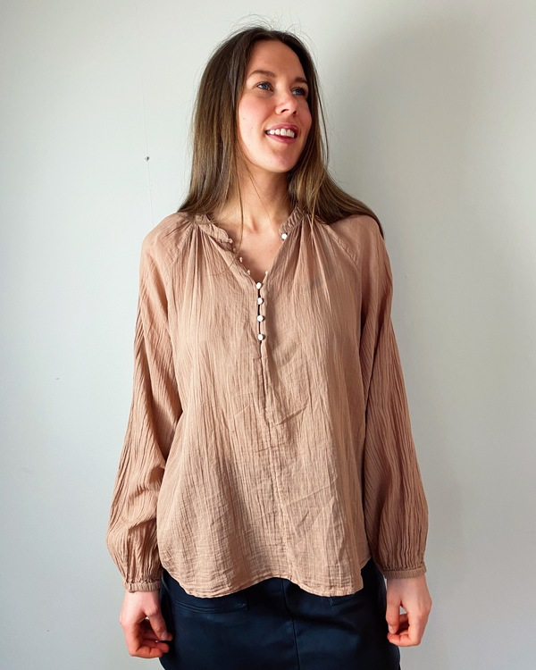 Crinkled woven shirt size S - Acacia brown