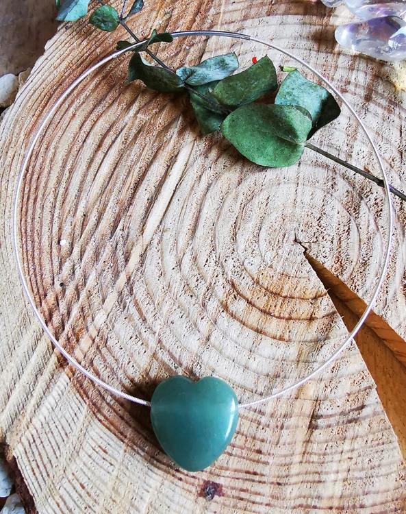 Halsband med hjärta Aventurin