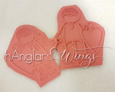 Rubber - Valentinepar med hjärtan 2st (Gummi)