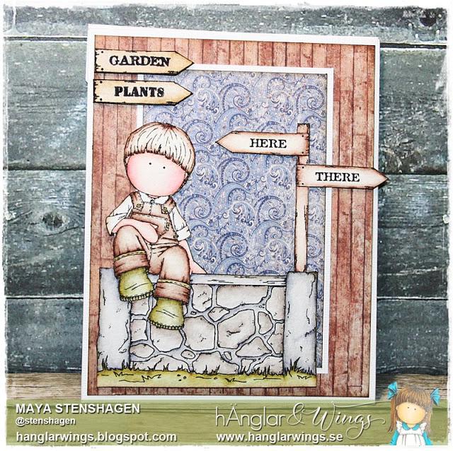 Clear Stamps - Sittande Trädgårdsflicka / Sitting Gardener Girl