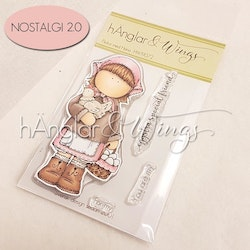 Clear Stamps - Flicka med Höna / Girl with Hen - A7 (Will be Retired)