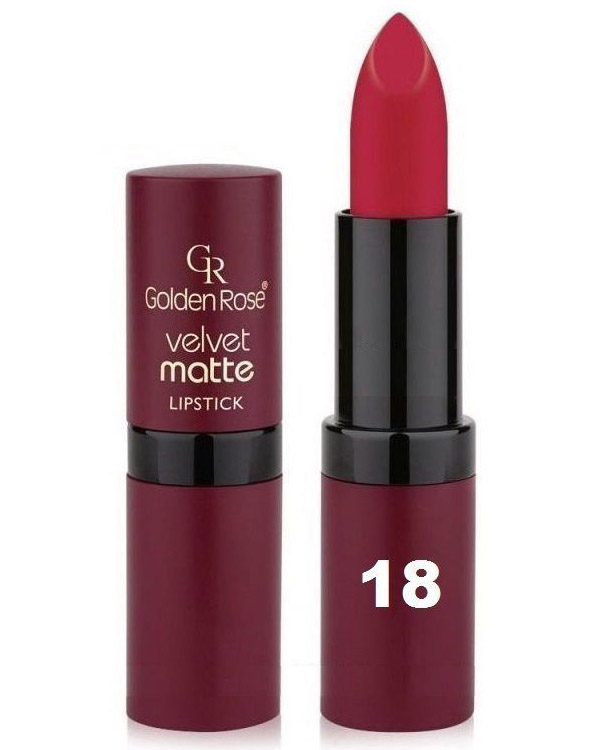 Golden Rose Velvet Matte Lipstick - 18 Old Rose Red