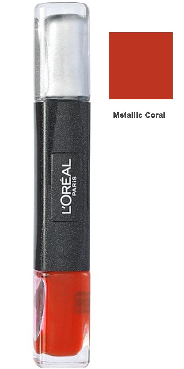 L Oreal Infallible Gel 2Step Metallix DUO Polish-28 Metallic Coral