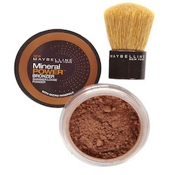 Maybelline Mineral Loose Bronzing Shimmer Powder & Realhair-KabukiBrush- 02 Sunkissed