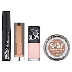 Maybelline Nude Set-Browmascara+Lipstick+Nail Polish+Tattoo-eyeshadow