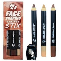 W7 Face Shaping 3 Contour Stix-Highlight, Bronzer&Contour Shade