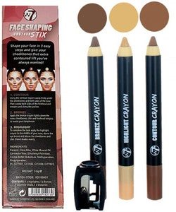 W7 Face Shaping 3 Contour Stix-Highlight, Bronzer&Contour Shade