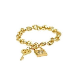 Universal Language Crystal Lock and Key Golden Bracelet