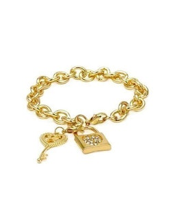 Universal Language Crystal Lock and Key Golden Bracelet