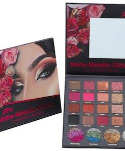 Saffron Matte-Metallic-Glitter Pearl Eyeshadow Palette
