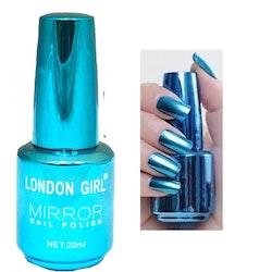 London Girl MIRROR CHROME Gel Large Polish-Blue Chrome