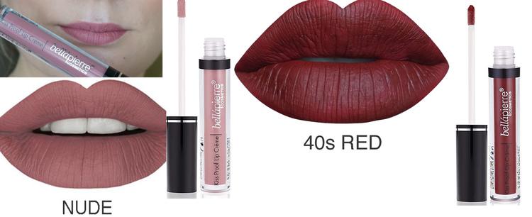 Bellapierre Kiss Transfer-Proof Liquid Lip Kit-Nude& 40s Red