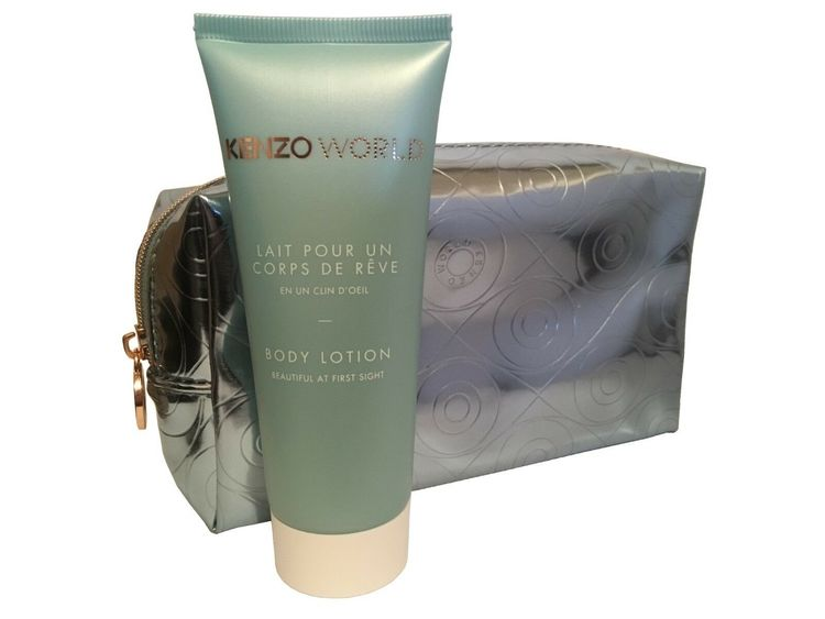 Kenzo World Silver Blue Make up Bag Pouch & Body Lotion 75ml
