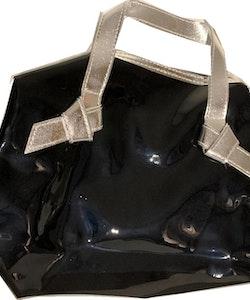 Arden Black Tote Handbag with Silver handles
