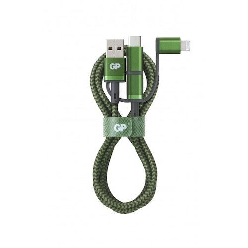 GP 3-in-1 USB-kabel CY1A, USB-C + Micro-USB + Apple Lightning (MFi) till USB-A, 1m