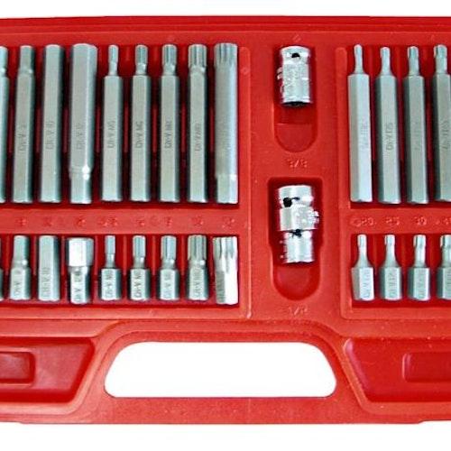 TORX BIT sats, 40st CV, T20-T55, M5-M12, HEX 4-12