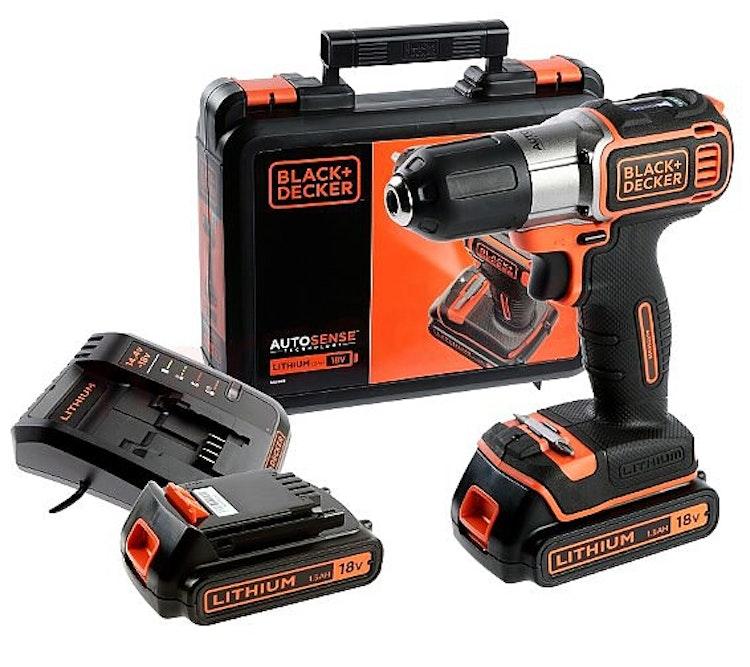 Skruvdragare / Borrmaskin, sladdlös, AUTOSENSE 18V 1.5AH, 2 batterier, väska