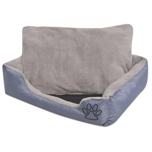 Hundbädd med vadderad kudde storlek S, Grå