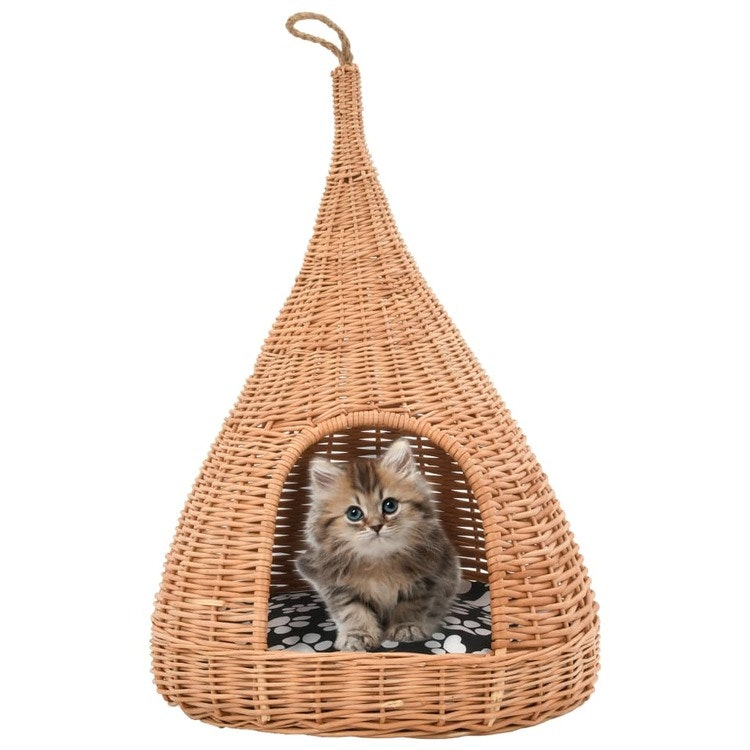 Cat House med kudde 40x60 cm Natural Willow Teepee