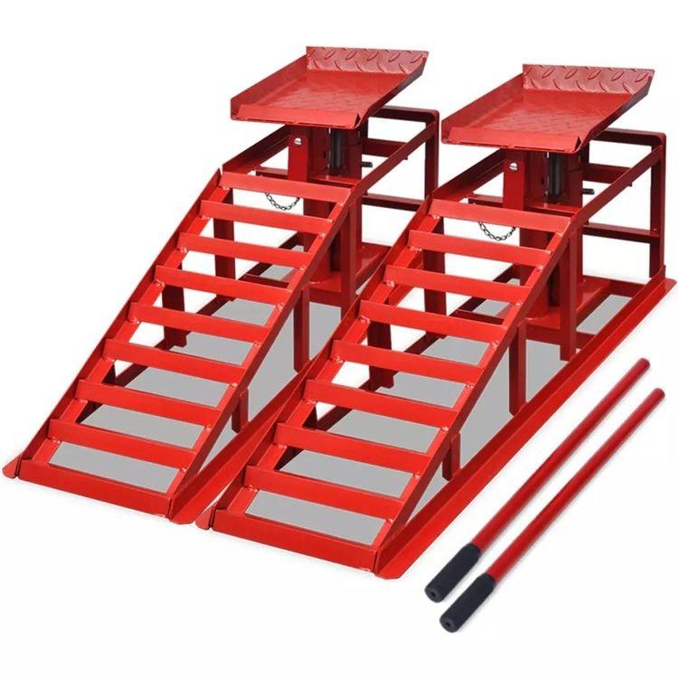 Bil reparations ramper 2 st röd stål