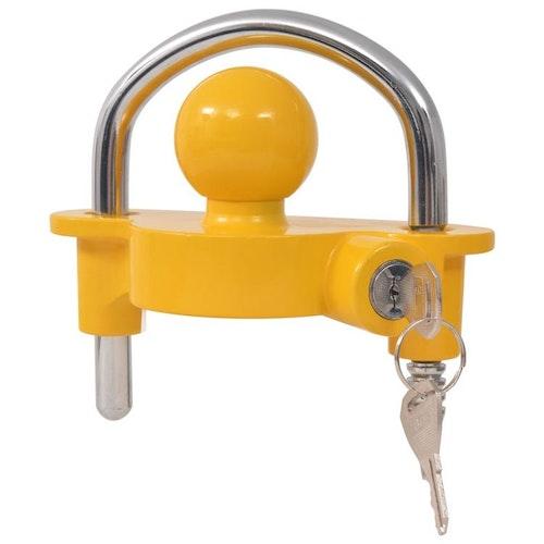 Trailer Lock med 2 nycklar stål och aluminiumlegering gul