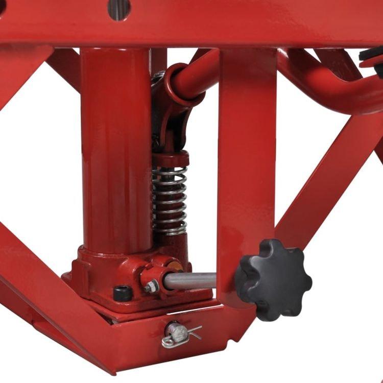 Röd motorcykellift 135 kg med fotdyna, låsstång, frigöringsventil