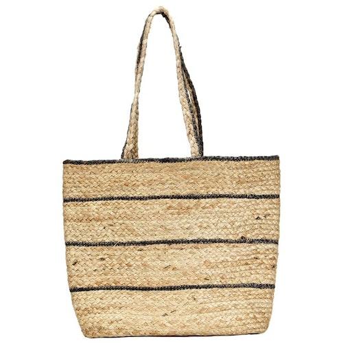 Shopper Bag Natural med mörkgrå randig handgjord jute