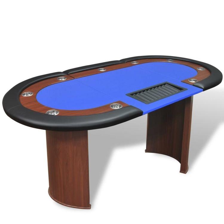 Pokerbord för 10 spelare med dealer plats blå