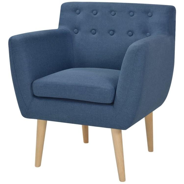 Fåtölj blå tyg, 67x59x77 cm